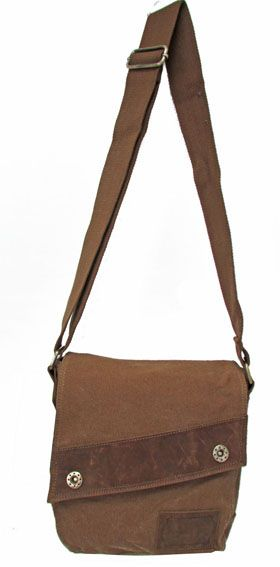 BS-1021M Bolso unisex de piel y lona anti-lluvia KING BELT color marrón, medidas 27x24x7cm